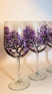 Just Beautiful Set 2 Wine Glasses Purple Cherry Blossom