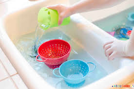 Kitchen Sink Play Colander Pour In The Kitchen Sink Busy Toddler
