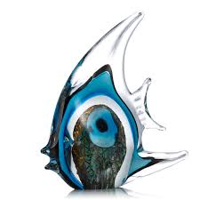 Home Blue Fish Best And Cheap Blue Blue Stripe Tropical Fish Glass Sculpture Home