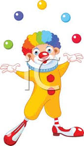clowns juggling balls of a happy clown with rainbow hair juggling balls
