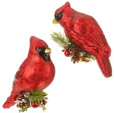 2 pc set glass cardinal ornaments thomian gallery gifts