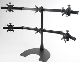 Ergotech Triple Horizontal Lcd Monitor Arm Desk Stand Multiple Lcd Monitor Desk And Wall Mounts