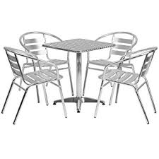 patio table with 4 chairs amazon com flash furniture 23 5 square aluminum indoor outdoor