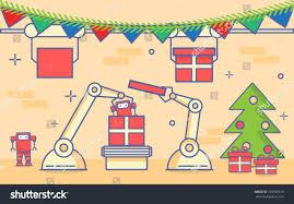 christmas new years conveyor belt mechanical stock vector