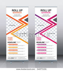 free printable vertical banner template orange pink roll banner template design stock vector 549771331