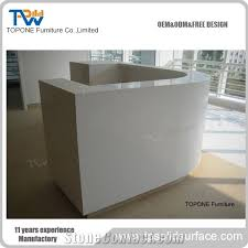 Marble Reception Desk Curved White Artificial Marble Stone Small Office Reception Desk