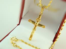 gold plated cross necklace images Africa real 24k yellow gold plated necklace blacks women men jpg