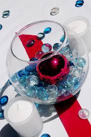 wedding decor fish bowl with colorful glass stones wedding