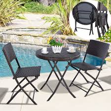Balcony Bistro Set Patio Furniture - steel rattan bistro set patio folding wicker chair and table cafe