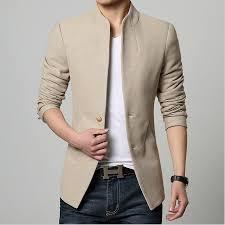 Men S Office Colors by Mandarin Collar Blazer Men Slim Fit Single Button Tunic Office