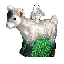 world pygmy goat glass blown ornament