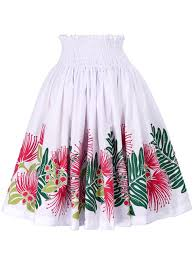 hawaiian pattern skirt hula pa u skirt with lehua print white g1864 hulaohana