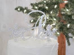 snowflake wedding cake topper with initial monogram u0026 2 small