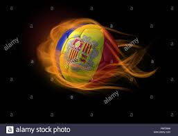 Andorra Flag Soccer Ball With The National Flag Of Andorra On Fire Stock Photo