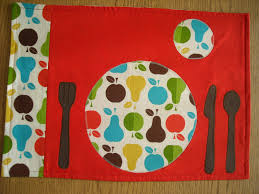 montessori kids kitchen placemat with place setting of plate