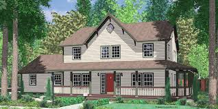 country farmhouse plans with wrap around porch house front color elevation view for 9999 country farm house wrap