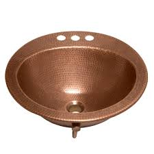 sinkology bell drop in handmade copper bathroom sink with 4 in