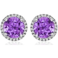 purple stud earrings mcdonough grace collection purple amethyst and diamond stud
