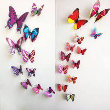 home decoration pieces aliexpress com buy 12 pcs 3d colorful butterflies wall stickers