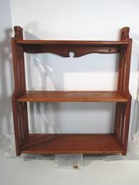 wall shelf made primitive style wood filigree sides 3 tier