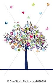 abstract colored tree with hearts circles and butterflies stock