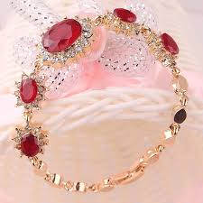 red chain bracelet images Fancyde girl gold color flower oval cut red crystal chain bracelet jpg