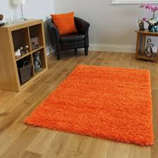 ontario bright orange anti static soft touch shag pile rug