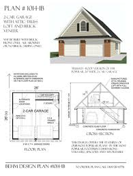 amazon com garage plans 2 car with attic truss loft 1014 1b