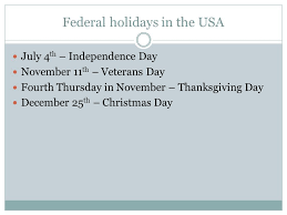 holidays in the usa ppt