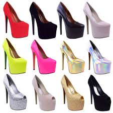 womens black platform 7 inch high heel stiletto pumps court shoes 3 8