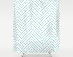 chevron shower curtain modern navy mint coral white stripes