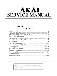 akai lct3201td cmo lcd tv service manual 1 compact disc
