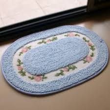 blue bath rugs with floral motifs designs for simple bathroom