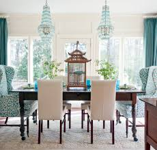 Dining Chair Ideas Vintage Dining Room Design With Turquoise White Fabric Wing Back