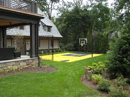 Purple Flowers With Michigan Basketball Court BACKYARD Play - Home basketball court design