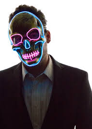 scary mask glowing skull mask neon nightlife