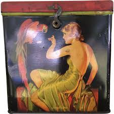 deco pin up say ivins art deco biscuit tin elegant lady pin up feeding