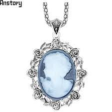 cameo antique necklace images Rose flower lady queen cameo pendant necklace for women vintage jpg