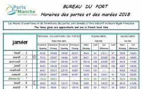 horaires de bureau horaires de portes et marées 2018 les ports de la manche