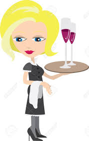 cartoon wine glass waitress holding tray with wine glasses royalty free cliparts
