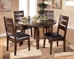 dining room rustic expandable round dining table with upholstered