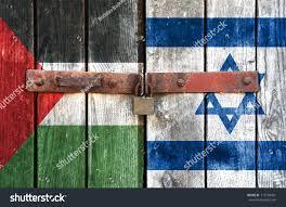 Palistinian Flag Palestinian Flag Israeli Flag On Background Stock Photo 116708431