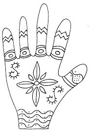 Imprimer le coloriage de la main graphique fleur Tête à modeler