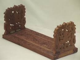 Bookshelf Book Holder 70s Vintage Folding Bookshelf Hand Carved India Sheesham Wood