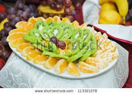 arrangement fruit carved fruit arrangement fresh various fruits stock photo