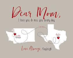 gift for mom letter to mom with maps i love you and miss you