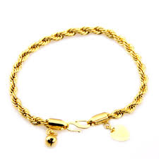 chain bracelet with heart charm images Wholesale 18k yellow gold filled baby kids girls chain link heart jpg