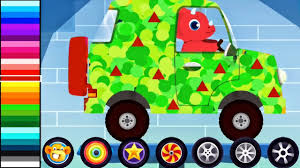 dinosaur cars cartoons truck driver monster truck car driving