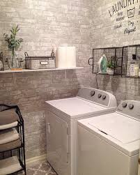 Stick And Peel Wallpaper laundry room makeover with faux brick peel and stick wallpaper