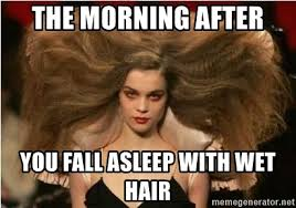 Morning After Meme - the morning after you fall asleep with wet hair crazy hair lady